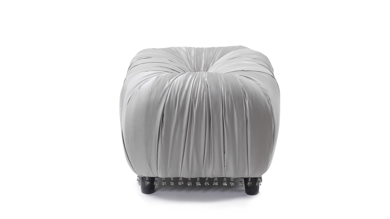 Gracie Beaded Decorative Ottoman, Flint Grey