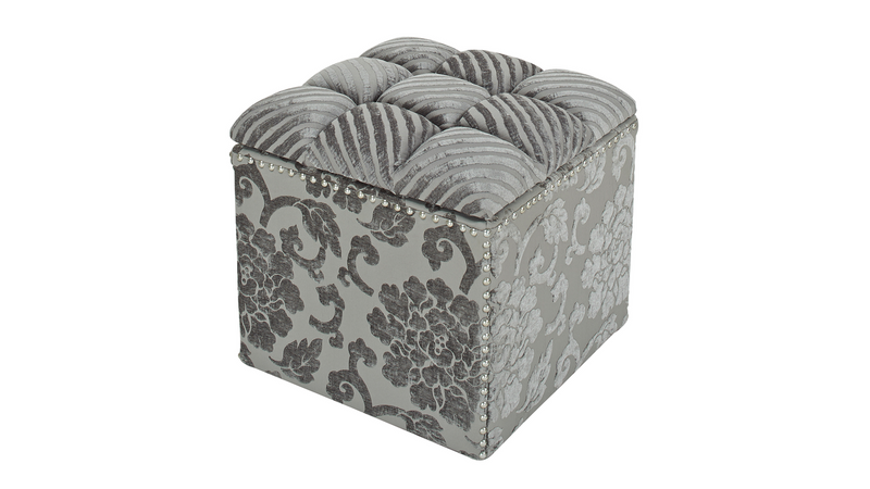 Natalia Tufted Storage Cube, Grey