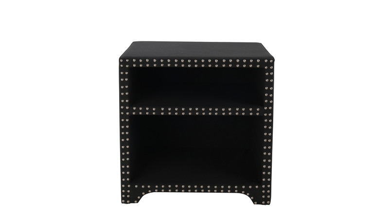 Jason Hand-Applied Nail heads Side Table, Jet Black