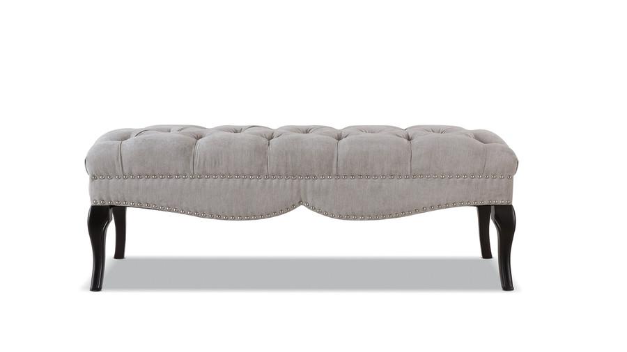 Camari Upholstered Bench, Silver Grey
