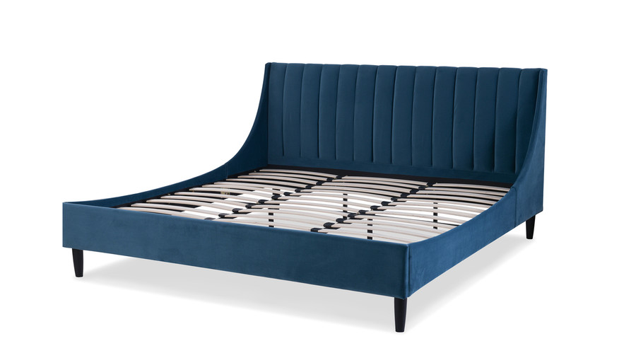 Aspen Upholstered Platform Bed, King, Satin Teal