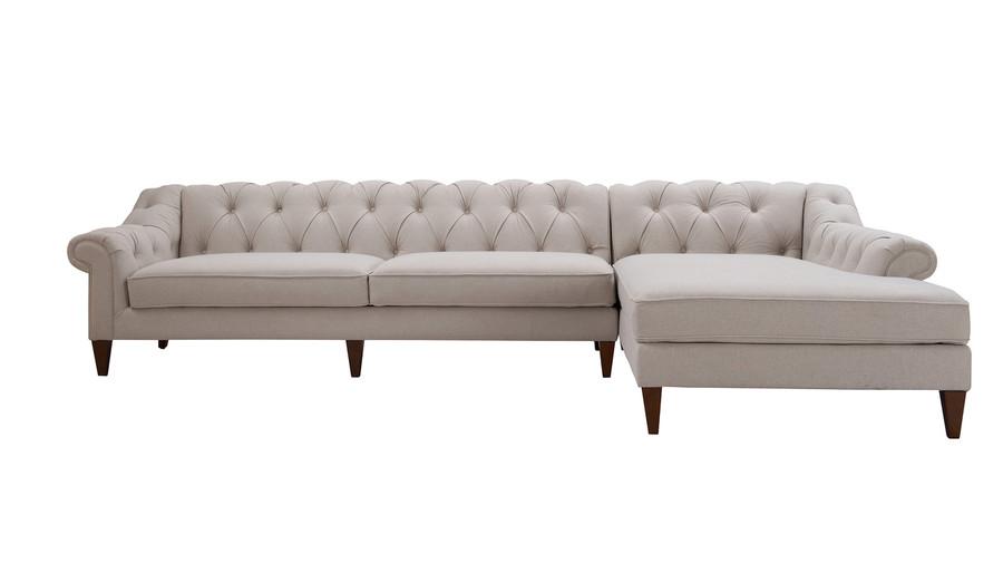 Alexandra Tufted Right Sectional Sofa, Bone White