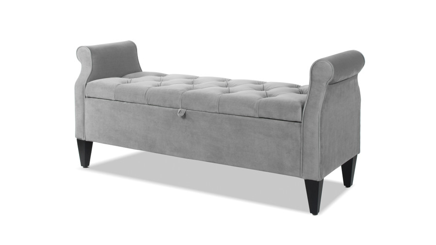 Jacqueline Tufted Roll Arm Storage Bench, Opal Grey