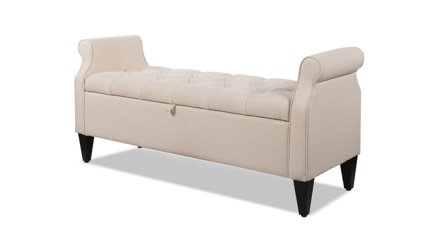 Jacqueline Tufted Roll Arm Storage Bench, Sky Neutral