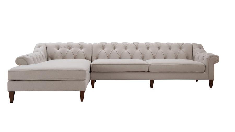 Alexandra Tufted Left Sectional Sofa, Bone White