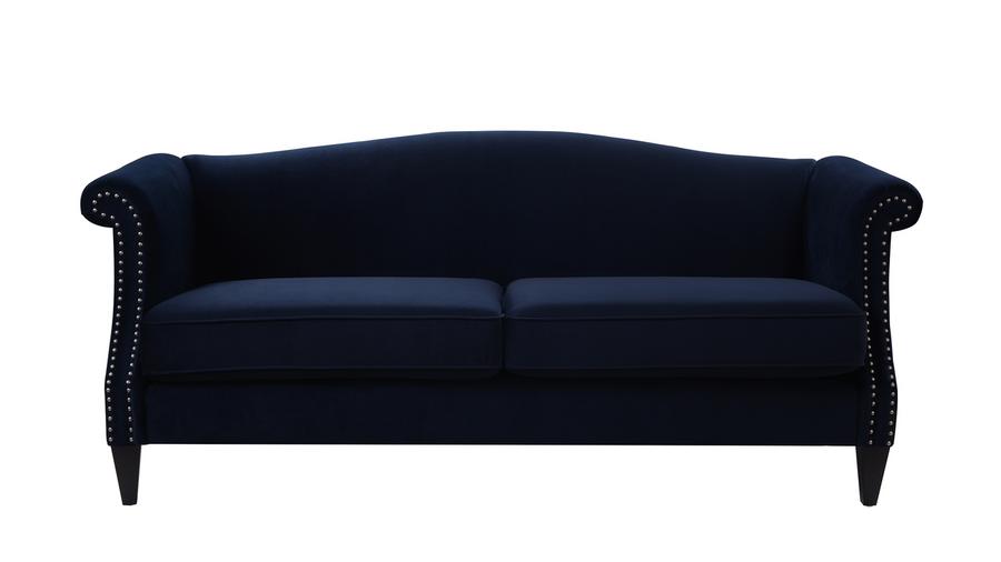 Elaine Camel Back Sofa, Dark Navy Blue