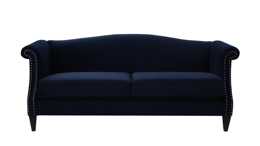 Elaine Camel Back Sofa, Dark Navy Blue