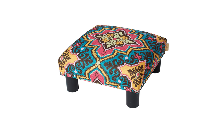 Jules Square Accent Ottoman, Printed, Tango Blue