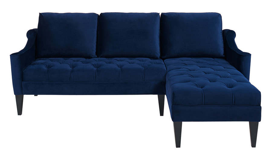 Amelie Reversible Chaise Sectional, Navy Blue