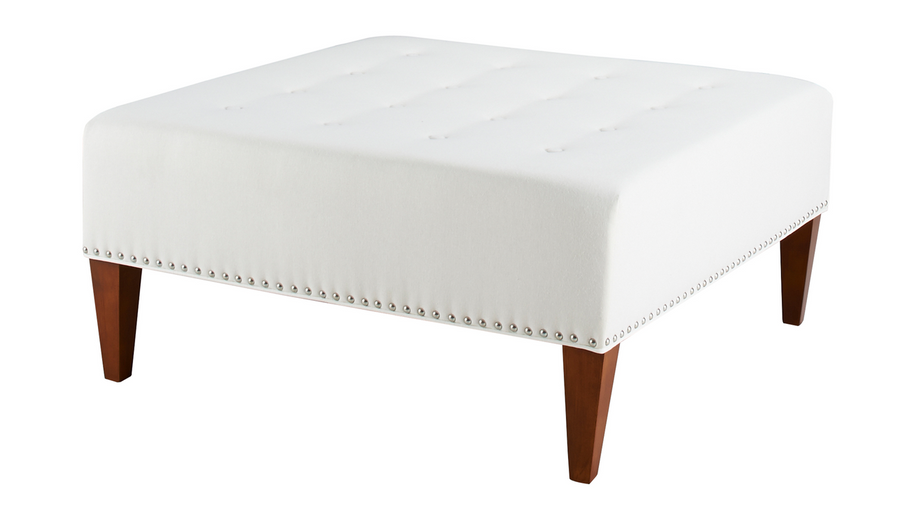 Michelle Tufted Square Ottoman, Woven, Off-White