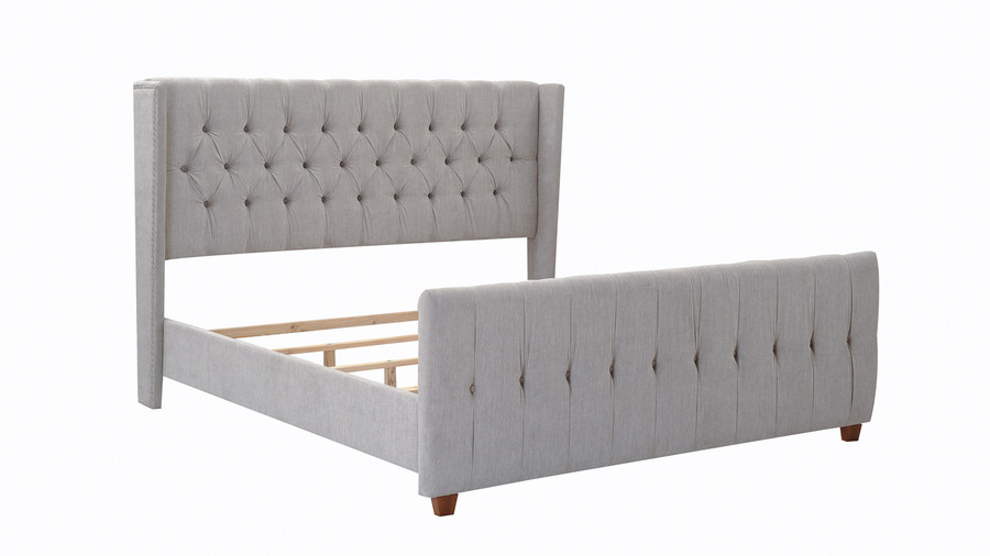 David Tufted Wingback Upholstered Bed, King, Silver Grey