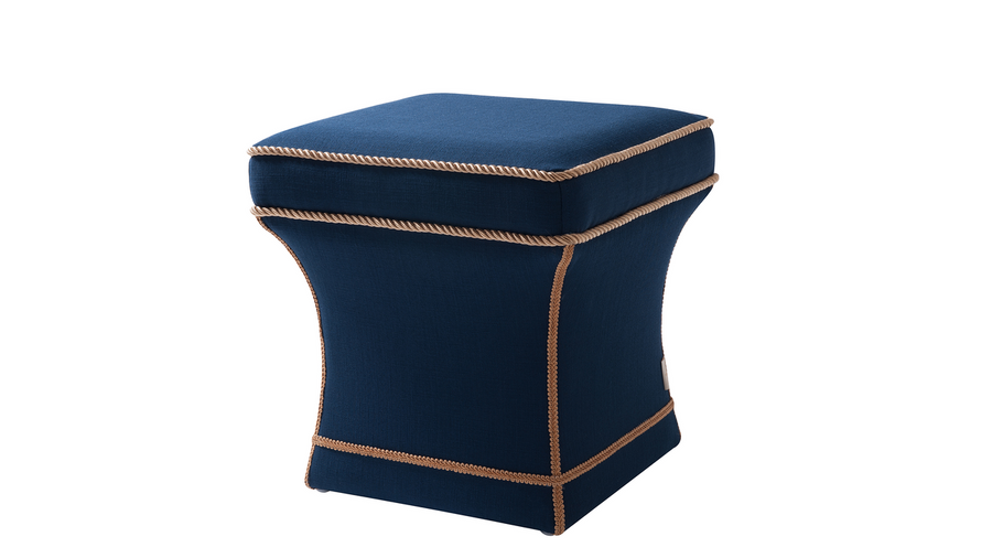 Savannah Traditional Pedestal Ottoman, Midnight Blue