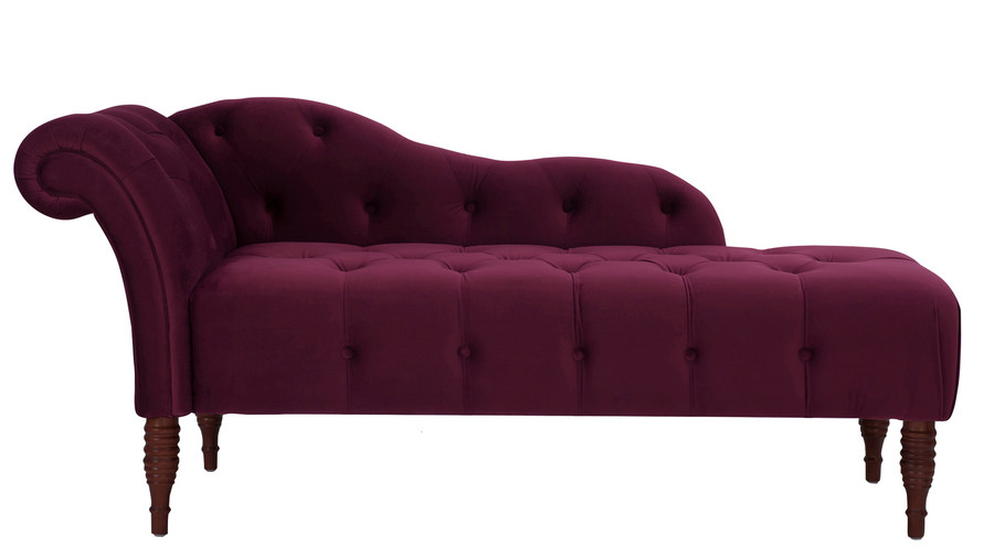 Samuel Tufted Chaise Lounge, Right Arm Facing, Burgundy