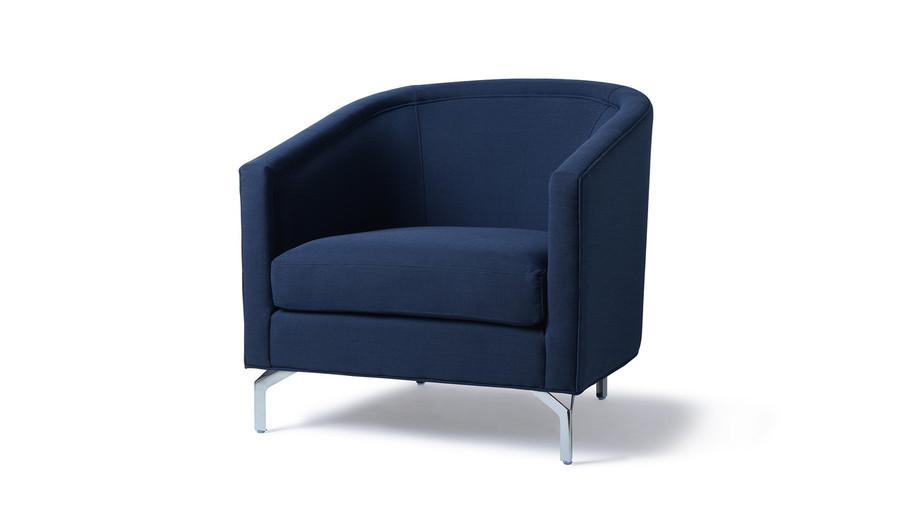 Annette Cabriole Arm Chair, Midnight Blue