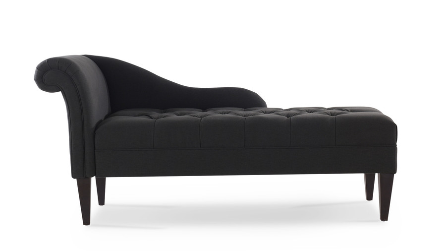 Harrison Tufted Chaise Lounge, Jet Black