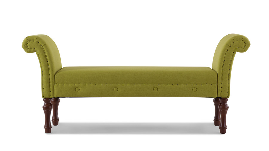 Elise Roll Arm Entryway Bench, Moss Green