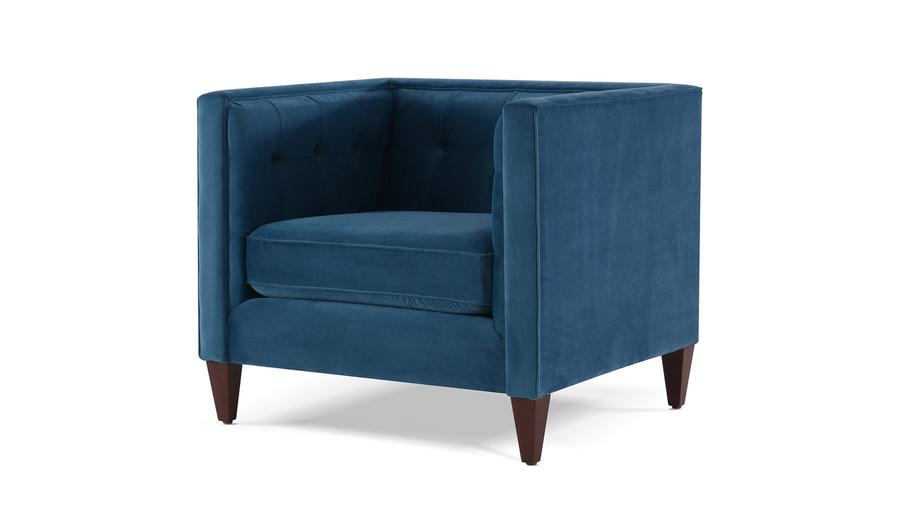 Jack Tuxedo Arm Chair, Satin Teal