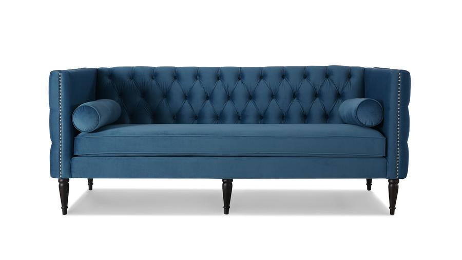 Diane Button Tufted Tuxedo Sofa, Satin Teal
