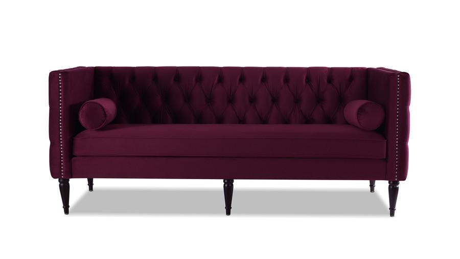 Diane Button Tufted Tuxedo Sofa, Burgundy