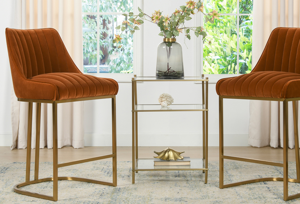 Maddie Modern Glam Gold Base Counter Height Bar Stooln