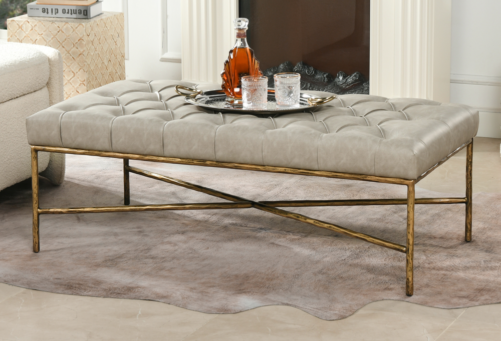 Aerin Hammered Gold Tufted Cocktail Ottoman