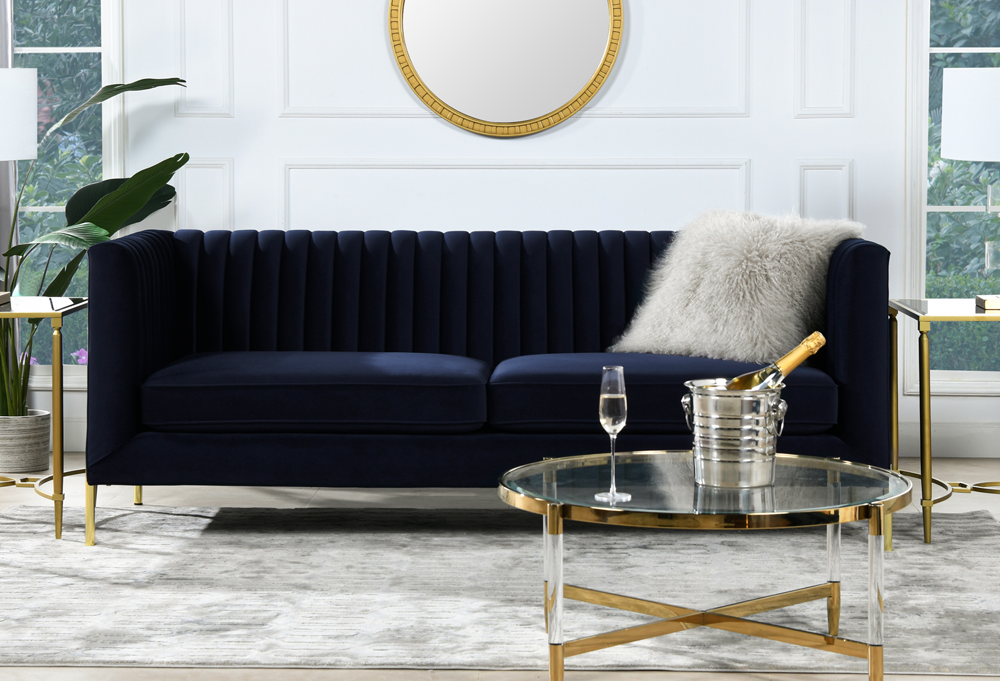 Riviera Channel Tufted Modern Tuxedo Sofa