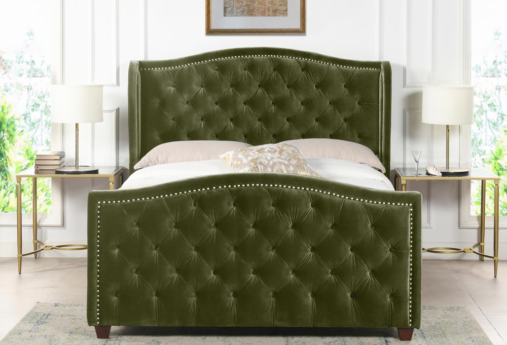Marcella Upholstered Shelter Headboard Bed Set