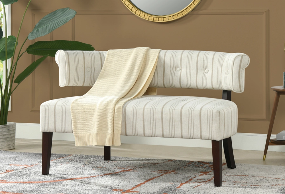 Jared Roll Arm Tufted Bench Settee