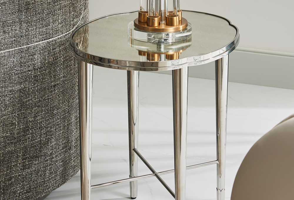 Mithril Scalloped Mirrored End Table