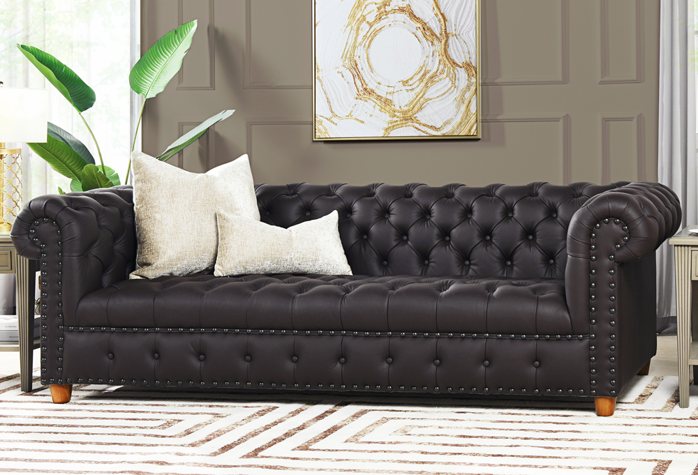 Baron Genuine Leather Chesterfield Sofa