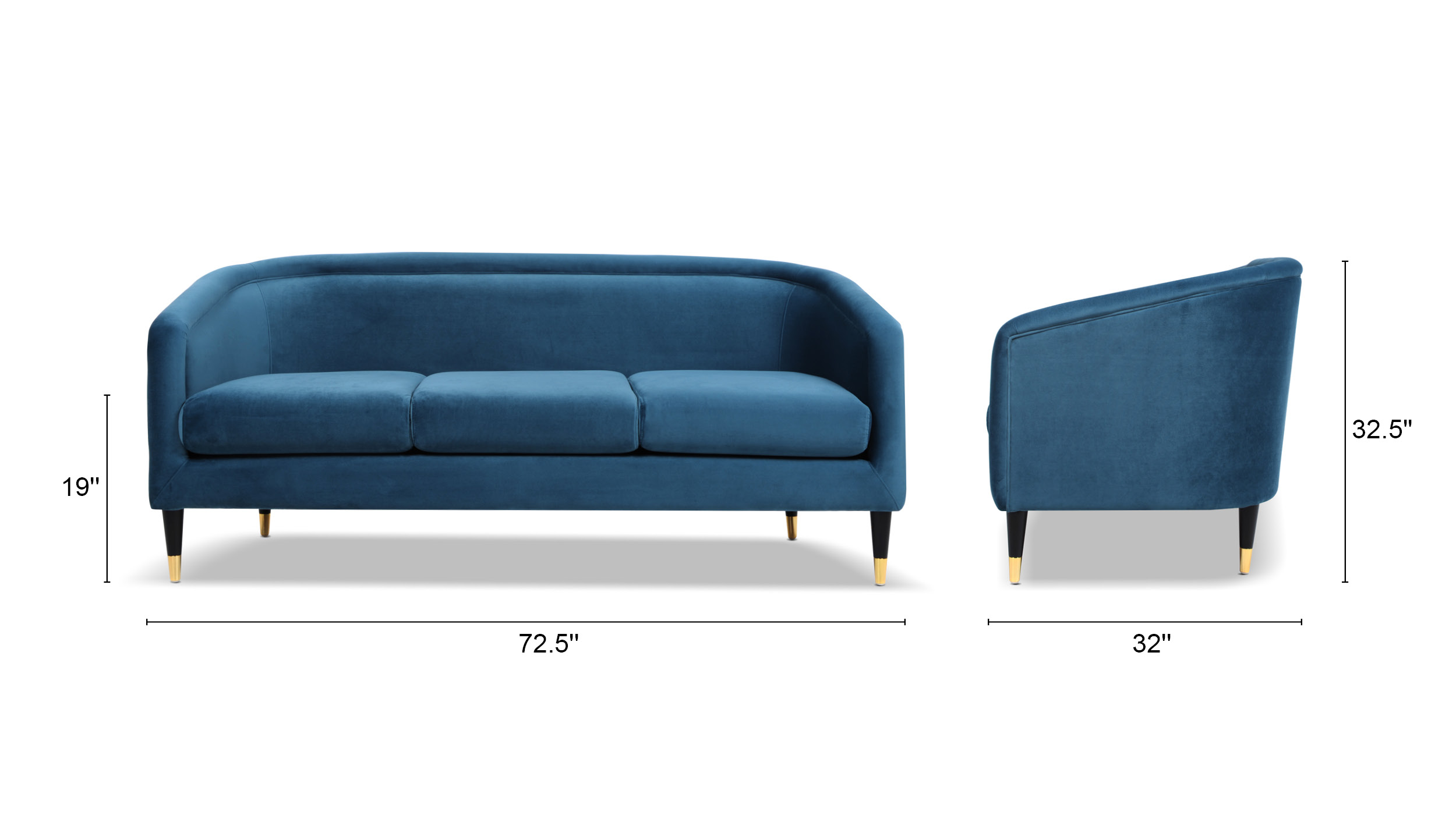 Avri Modern Sofa Polished Accent Legs