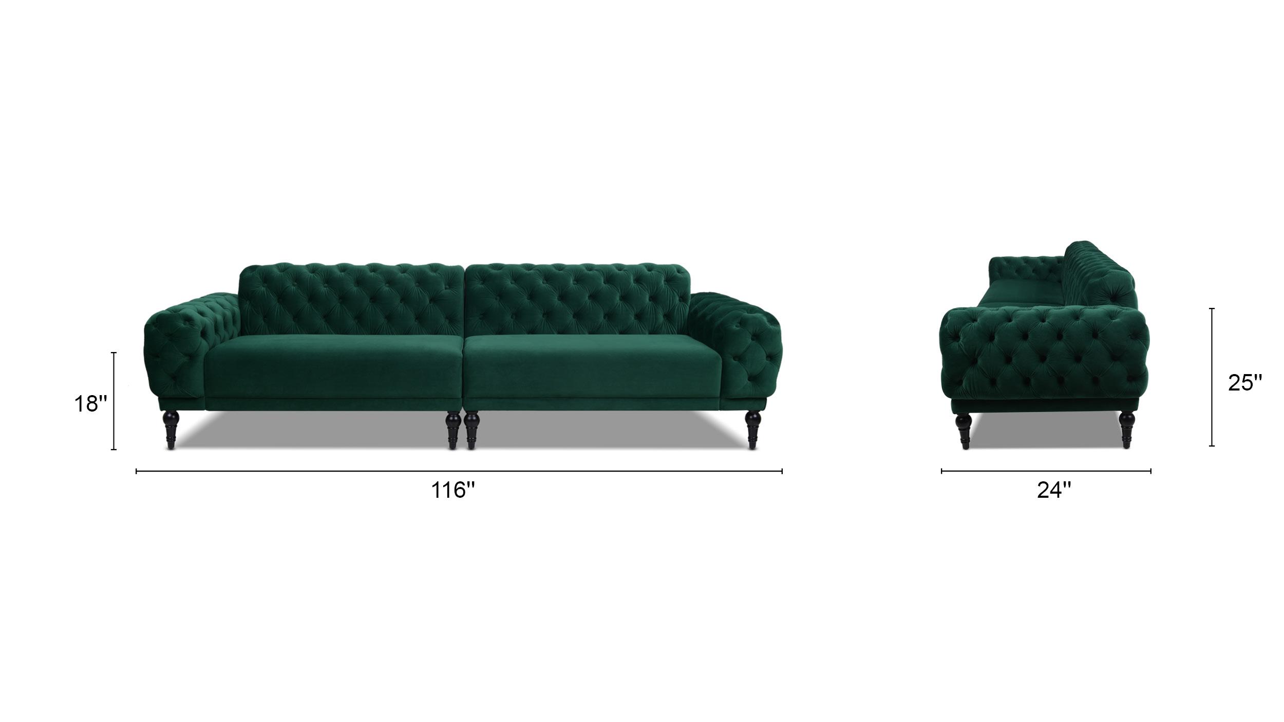 Tappman Modular 4-Seater Tufted Velvet Sofa