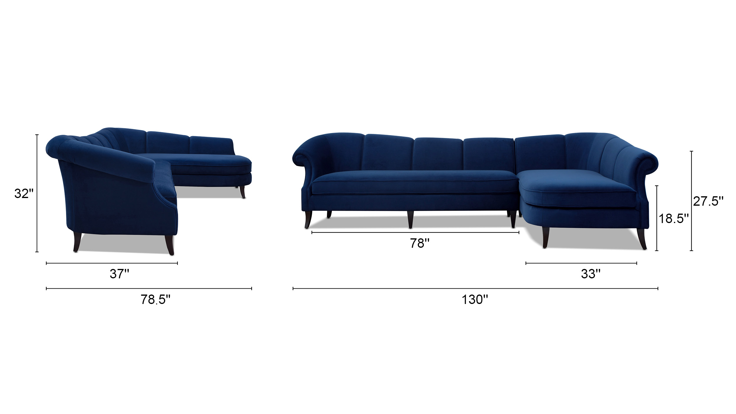 Victoria Upholstered Right Sectional Sofa