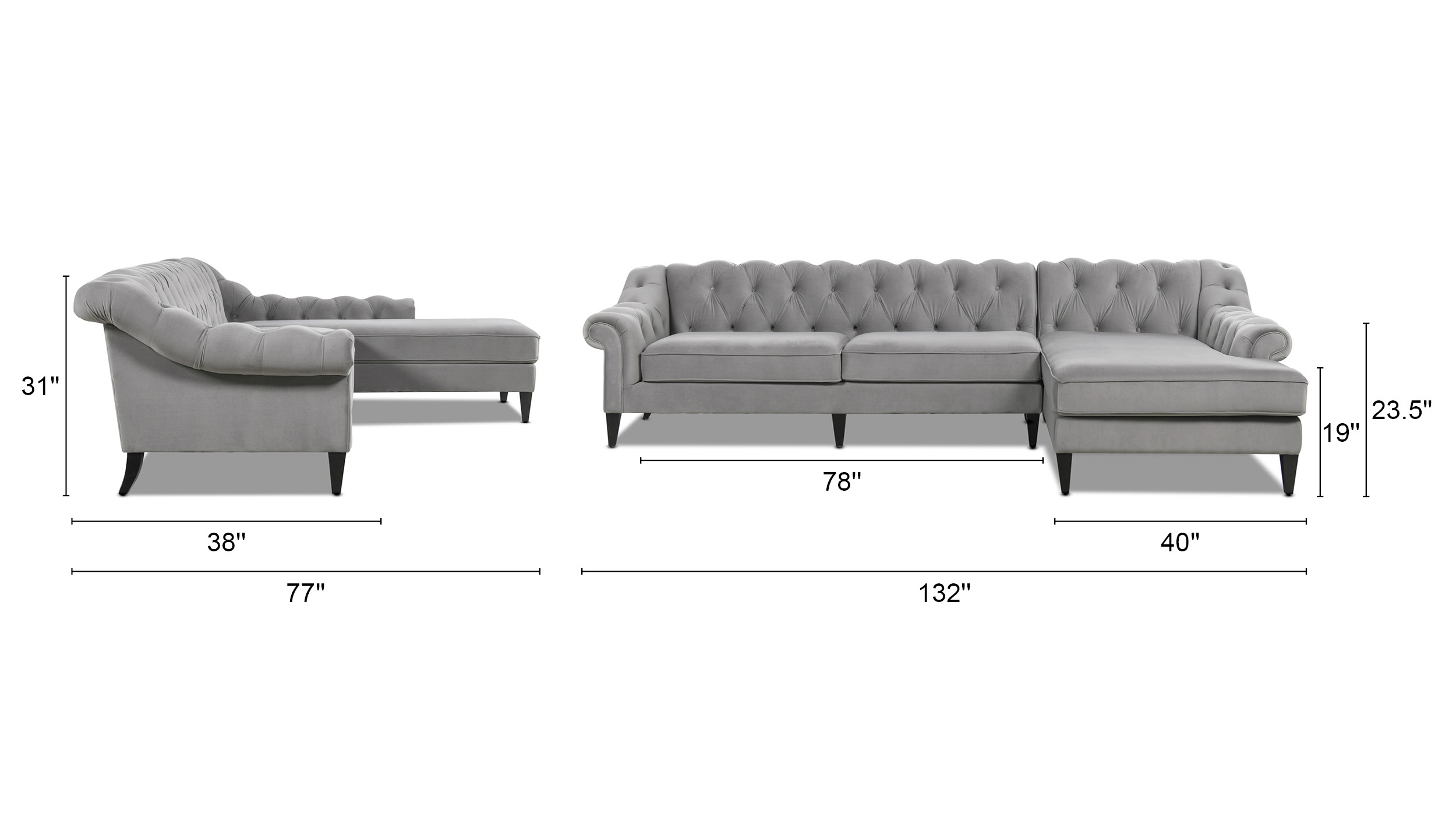 Alexandra Tufted Right Sectional Sofa