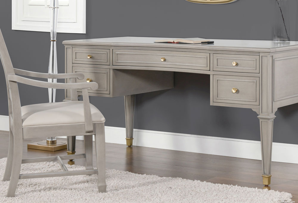 Dauphin Gold Accent 5-Drawer Wood Desk