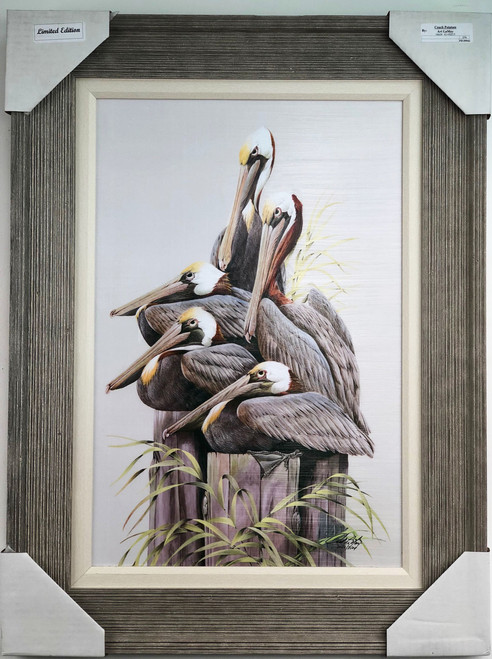 """5 pelicans sitting on pilings. Large painting is a reproduction of an original American artist.  Pelican painting with frame measures  32""""x 24""""."""