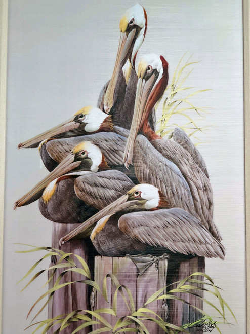 "5 pelicans sitting on pilings. Large painting is a reproduction of an original American artist.  Pelican painting with frame measures  32""x 24""."