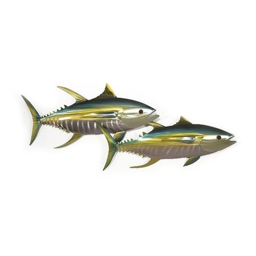 Swimming Tunas metal wall art from Designer Mark Malizia and Copper Art. Safe for outdoor use.