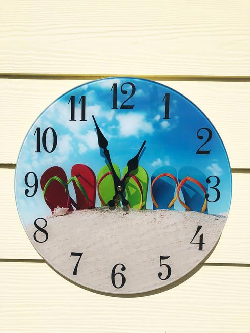 """Glass  Flip Flop Clock 13.5"""""""