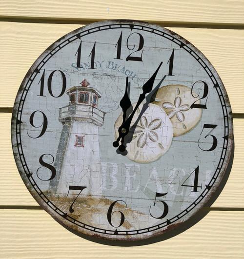 "Lighthouse Wall Clock 13.5"""