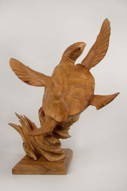Sea Turtle Hand Carved on Base