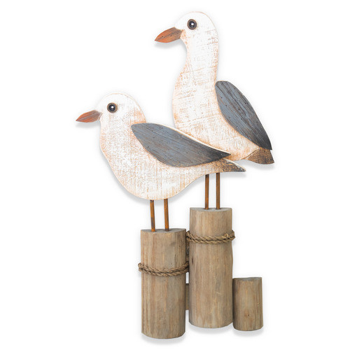 Seagulls on Double Piling Wall C756