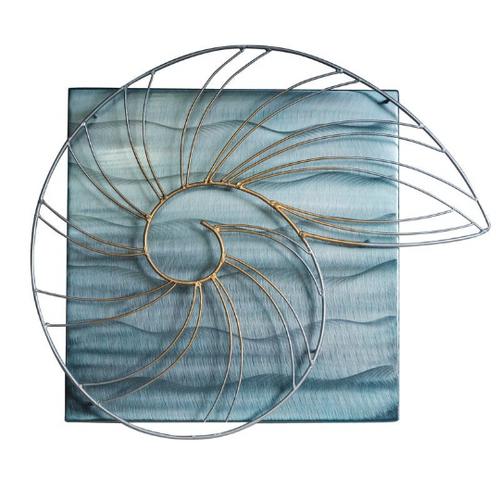 Nautilus Shell on metal Ocean Square MM314