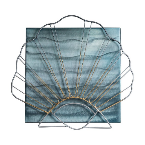Scallop on Square, Metal Wall Sculpture MM315