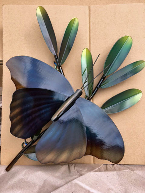 Butterfly on a Branch Outdoor Wall Art