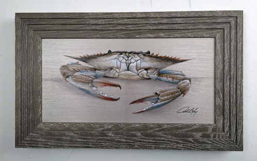 Blue Crab Framed Art Claw Down