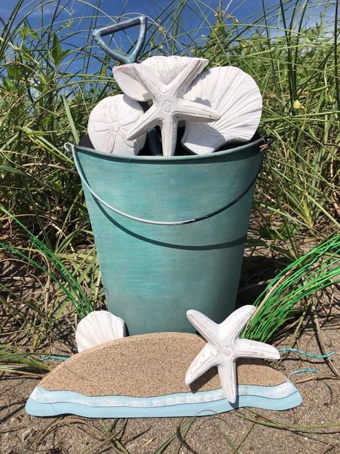 Beach Bucket of Shells - Metal Wall Sculpture
