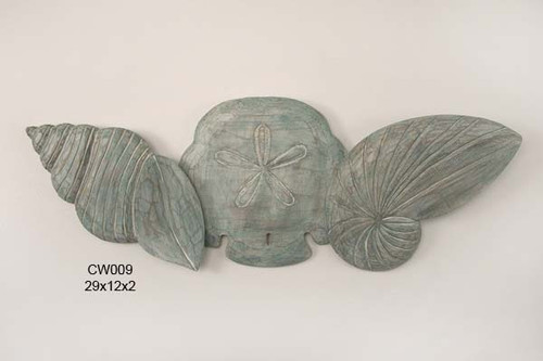 Coastal Wall Art - Aqua Colored Wall Shells