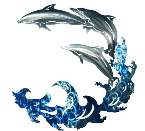 3D Dolphin Wave - Metal Wall Art
