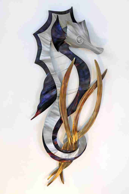 Seahorse Head Down Stainless Steel Wall Art